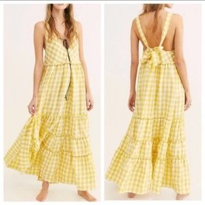 Free People Beach Club Gingham Tiered Maxi Dress S
